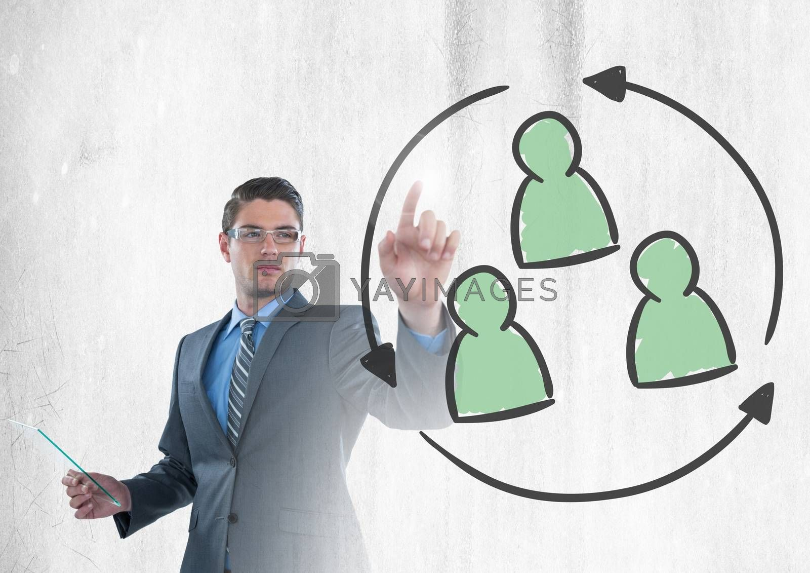 Digital composite of Businessman interacting and choosing group of people refresh icon