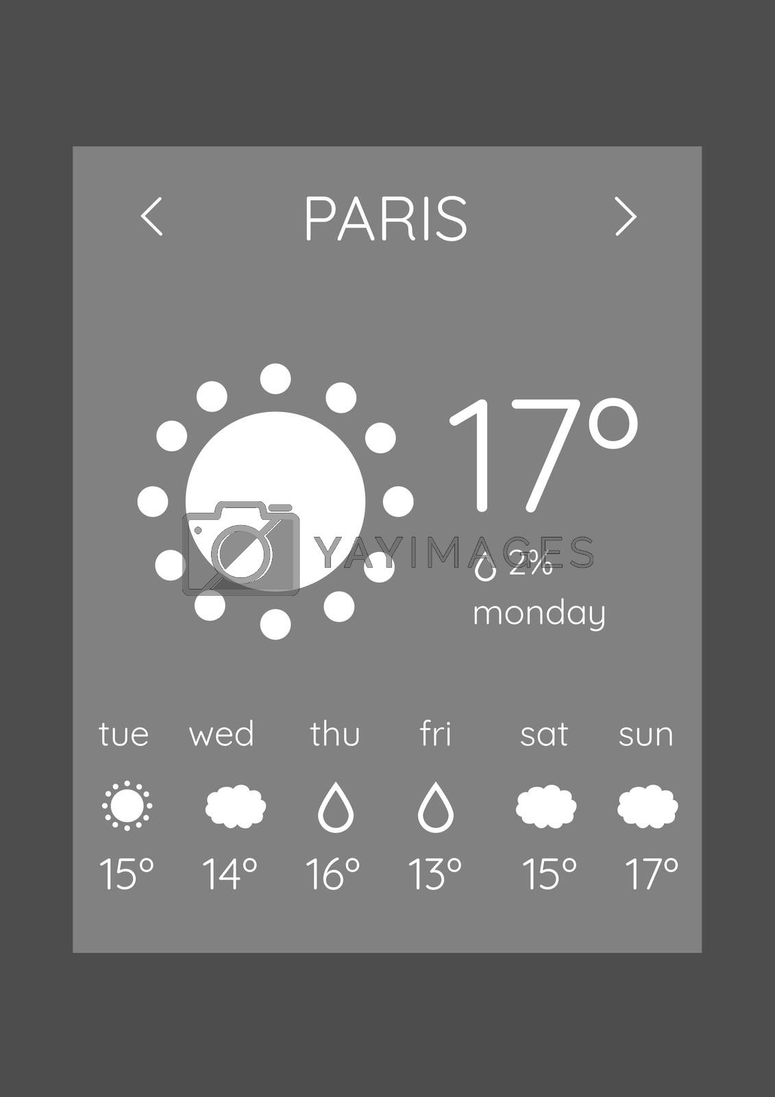 Weather forecast application interface by Wavebreakmedia
