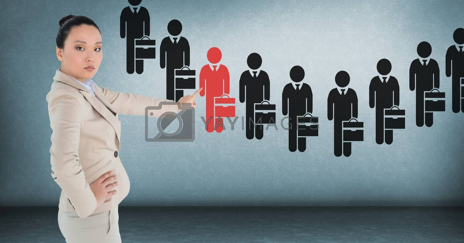 Digital composite of Businesswoman interacting and choosing a person from group of people icons