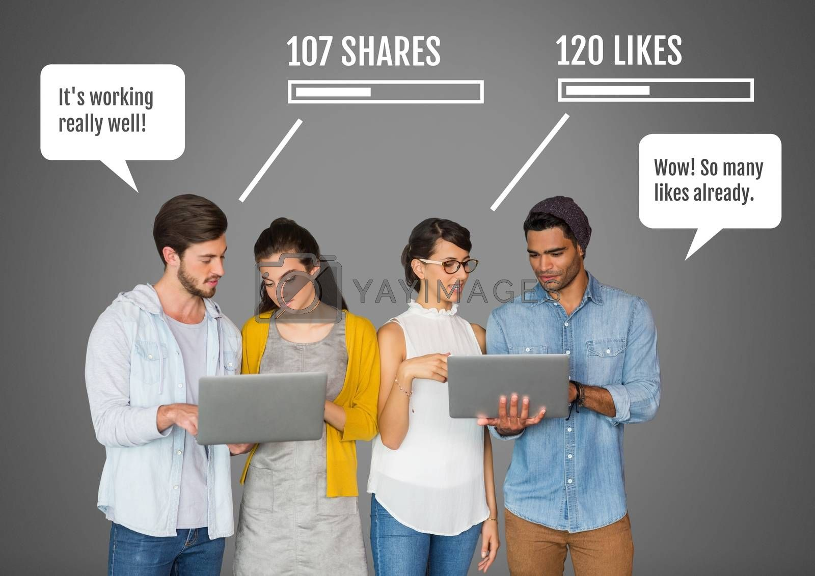 Digital composite of People on laptops with shares and likes Social media interfaces