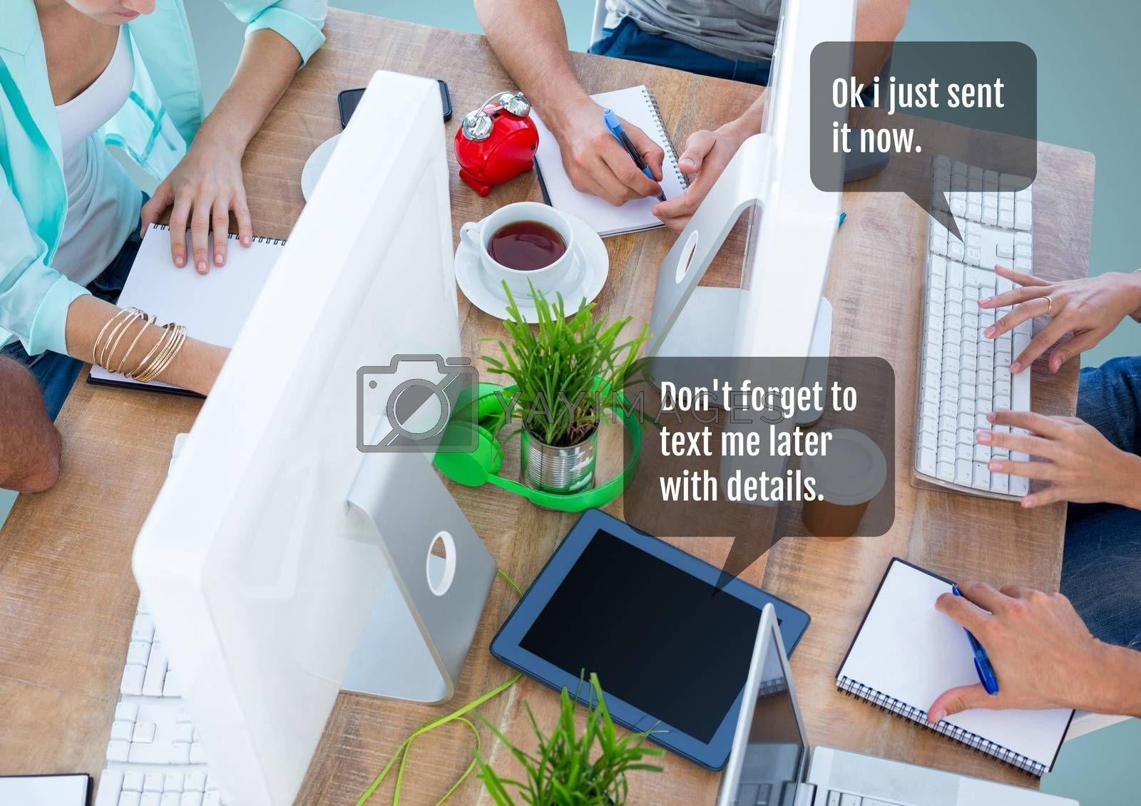 Digital composite of People working in office at desk with chat bubble at meeting