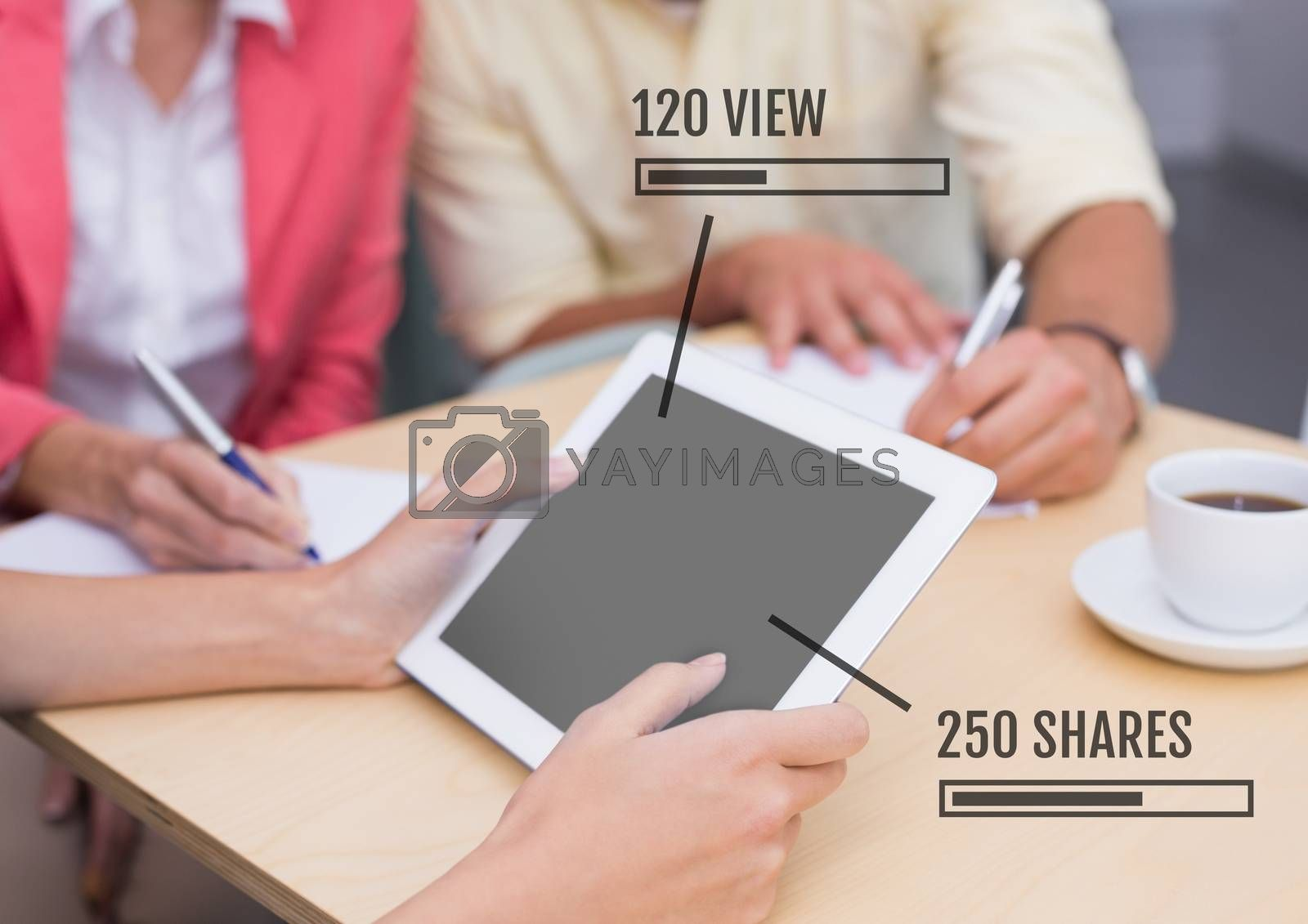 Digital composite of People on tablet with Views and Shares status bars at meeting