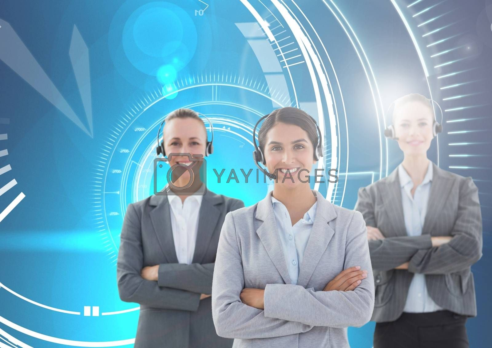 Digital composite of Customer care service women with blue technology  background