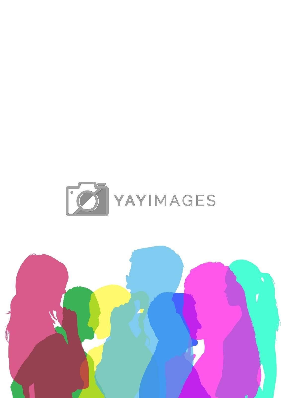Digital composite of color silhouette of people