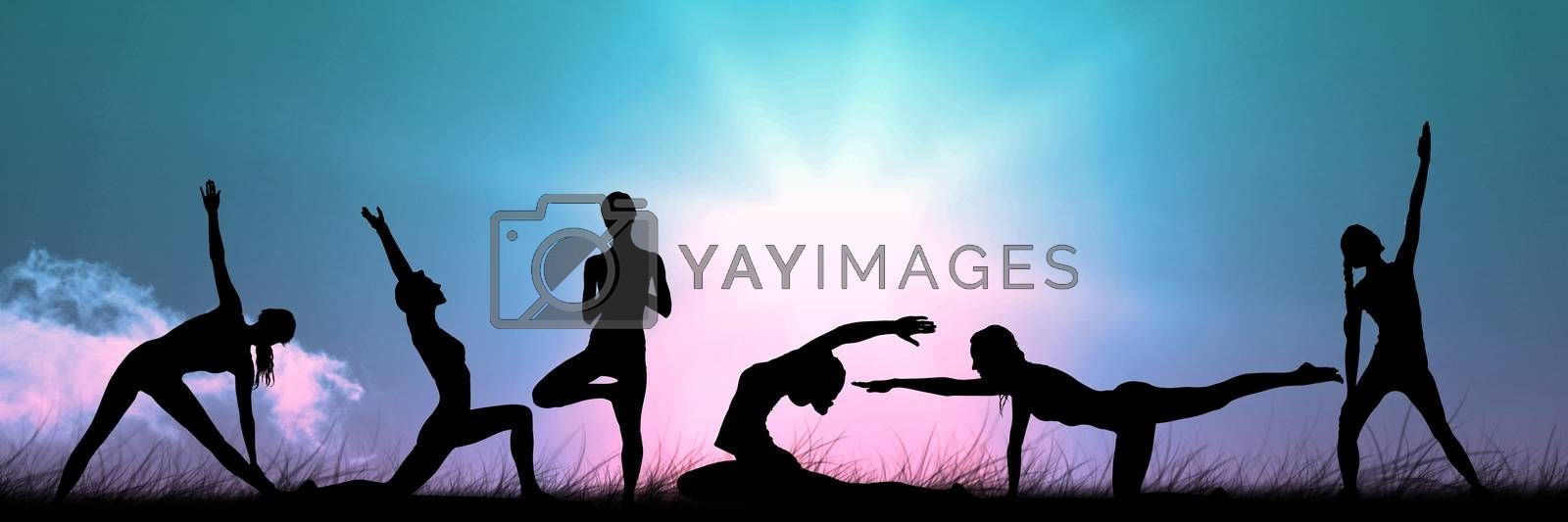 Digital composite of yoga group silhouette at sunset