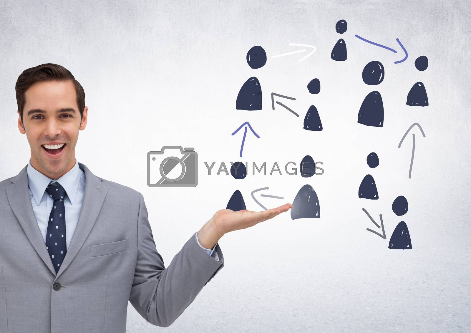 Digital composite of Hand-drawn people profile icons with open hand of businessman