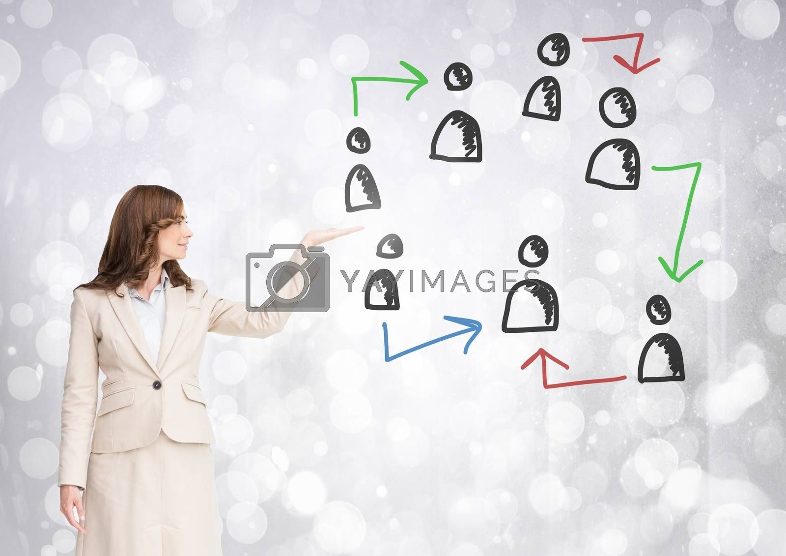 Digital composite of Hand-drawn people profile icons with open hand of businesswoman