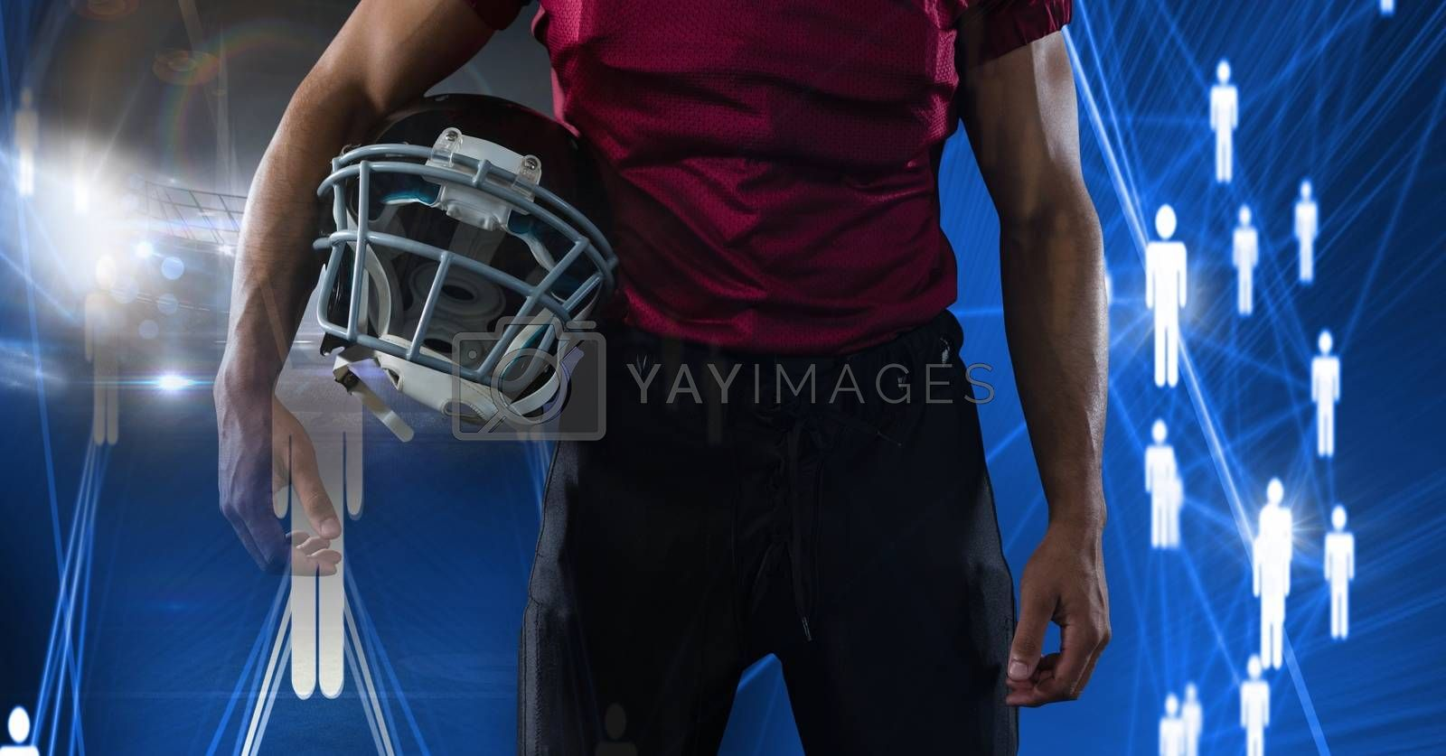 Digital composite of American football player with people icons transition