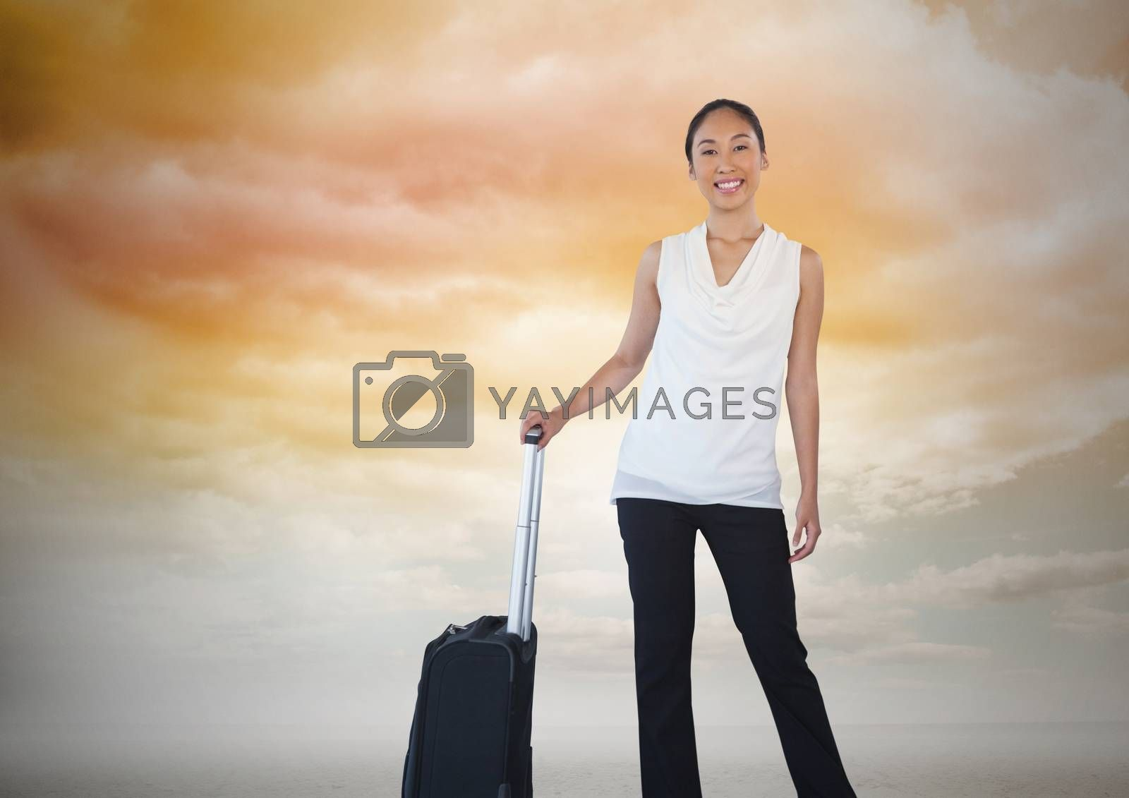 Businesswoman with travel bag and clouds by Wavebreakmedia