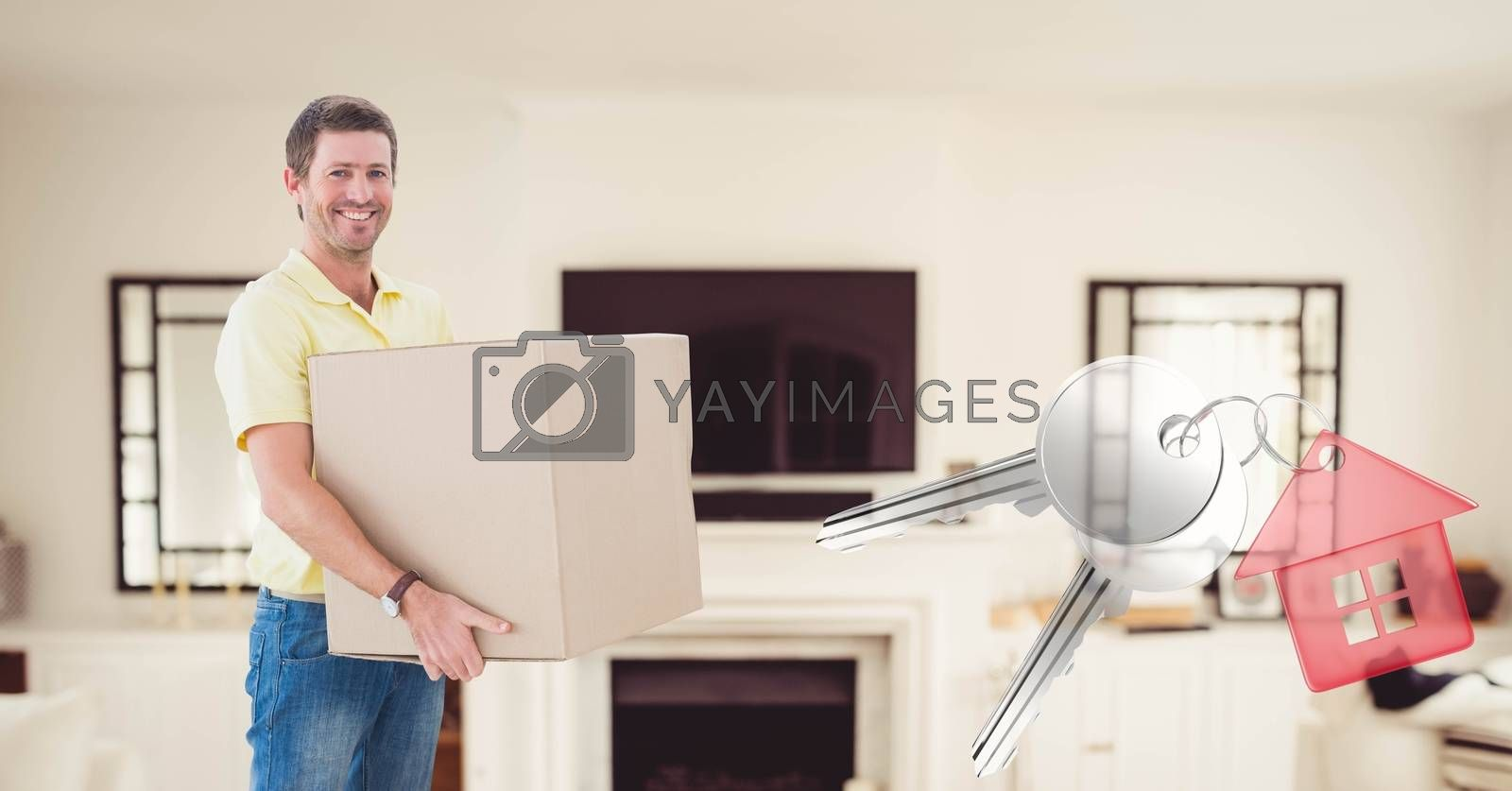 Digital composite of people moving boxes into new home with key
