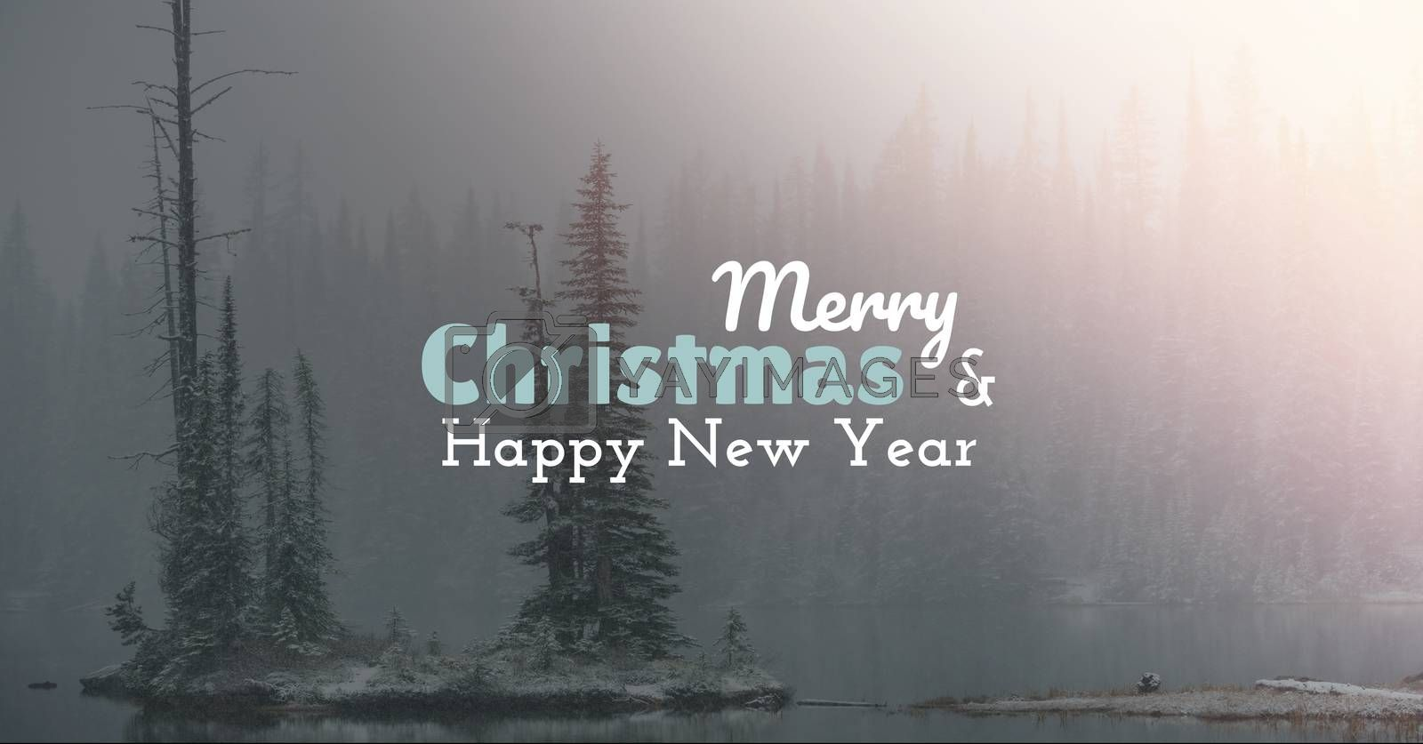 Digital composite of merry Christmas and happy new year text on snow background