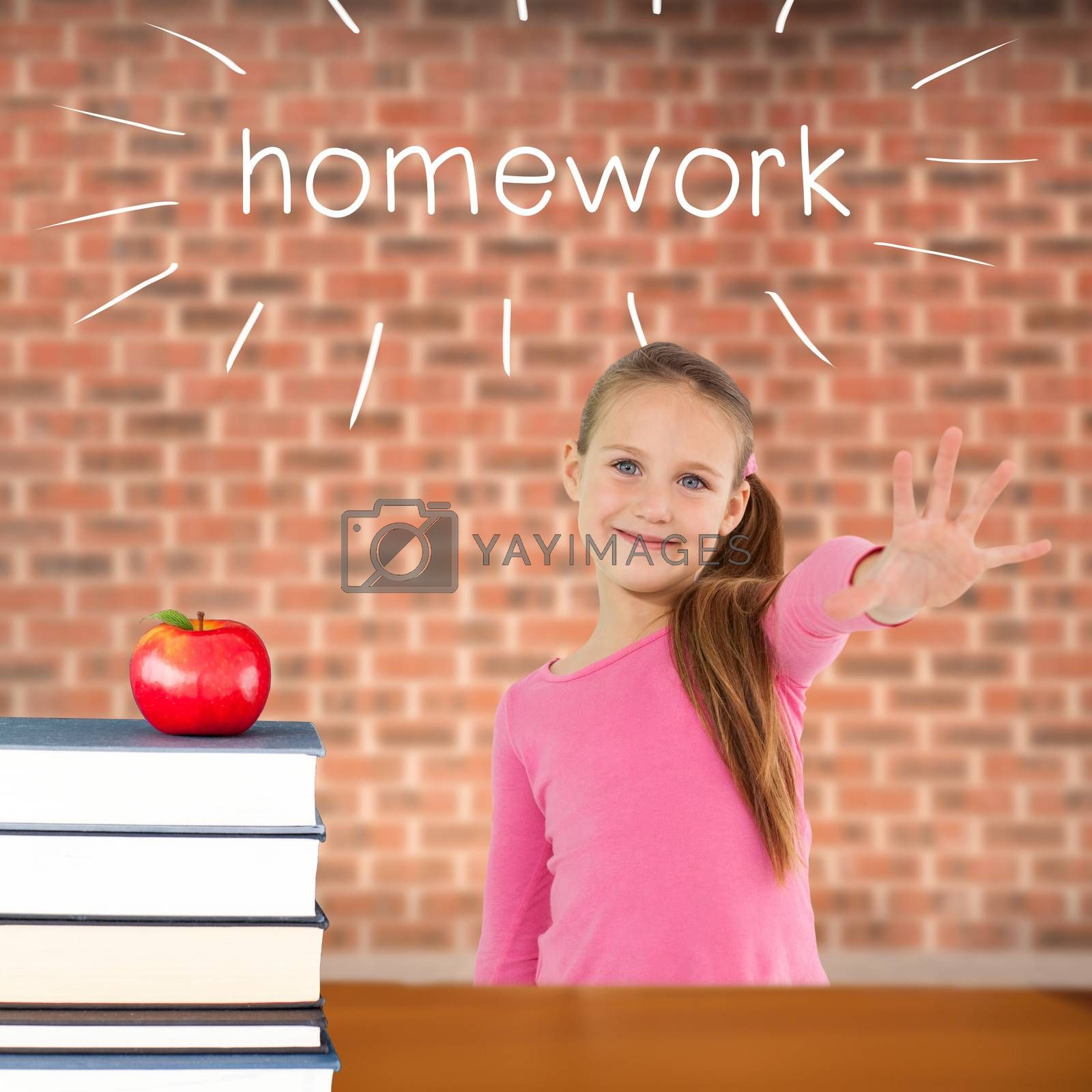 The word homework and cute girl with hand out against red apple on pile of books