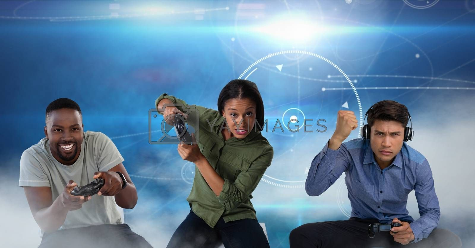 Digital composite of People playing with computer game controllers with blue technology background