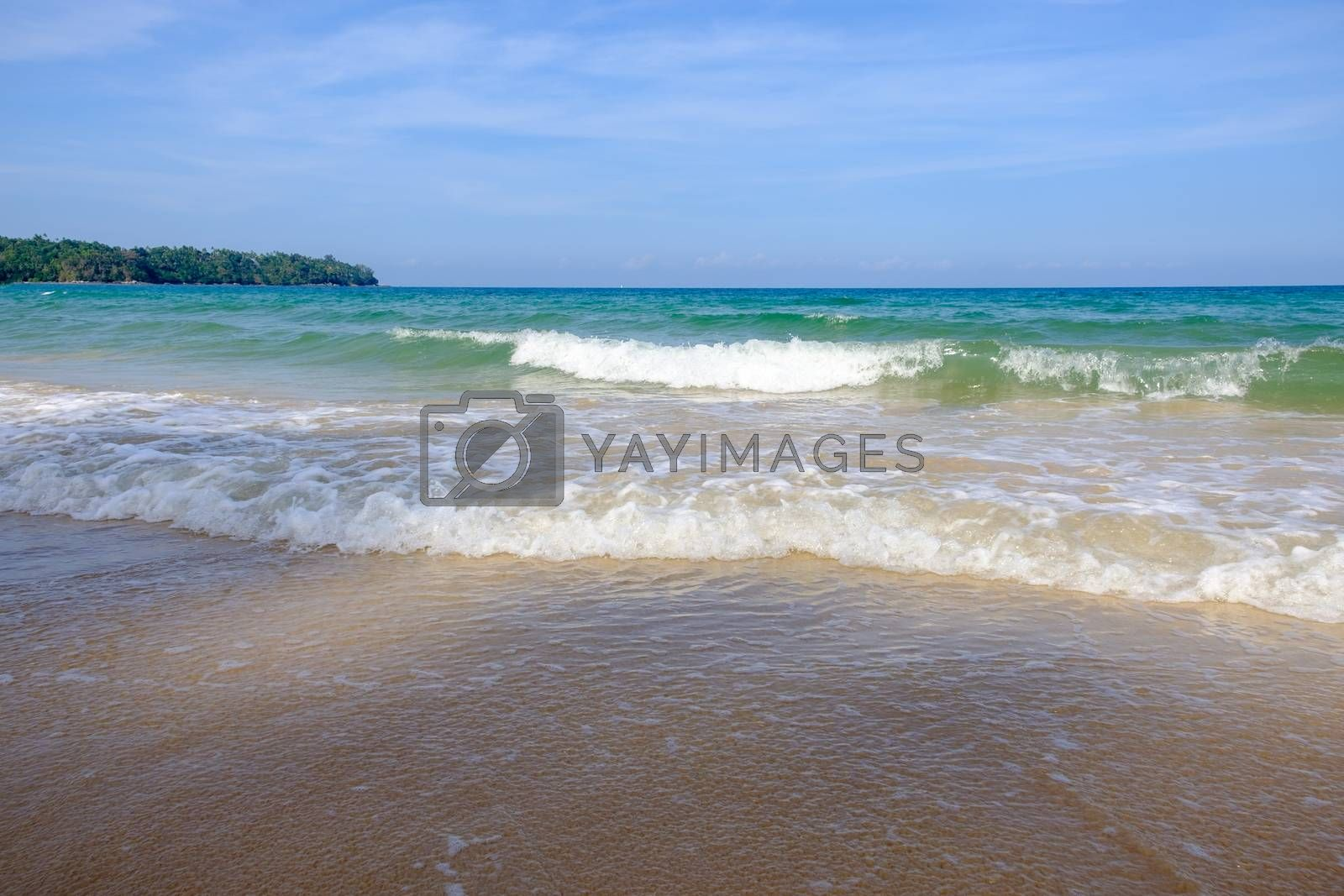 Wave of the Sea and shore beach in vintage style. White sand beach and blue sky. Sea view from tropical beach with Scene Waters Storm.