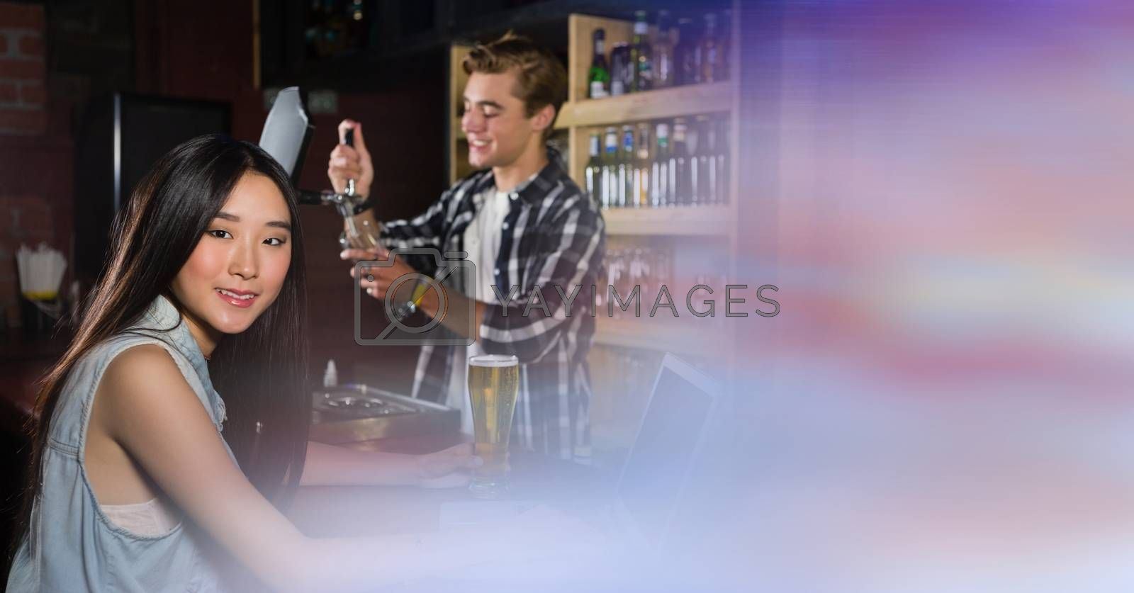 Digital composite of people at bar with transition