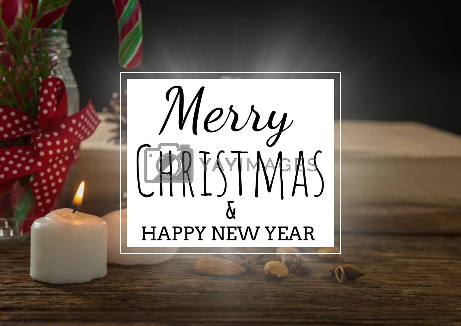 Digital composite of merry Christmas and happy new year text on christmas background