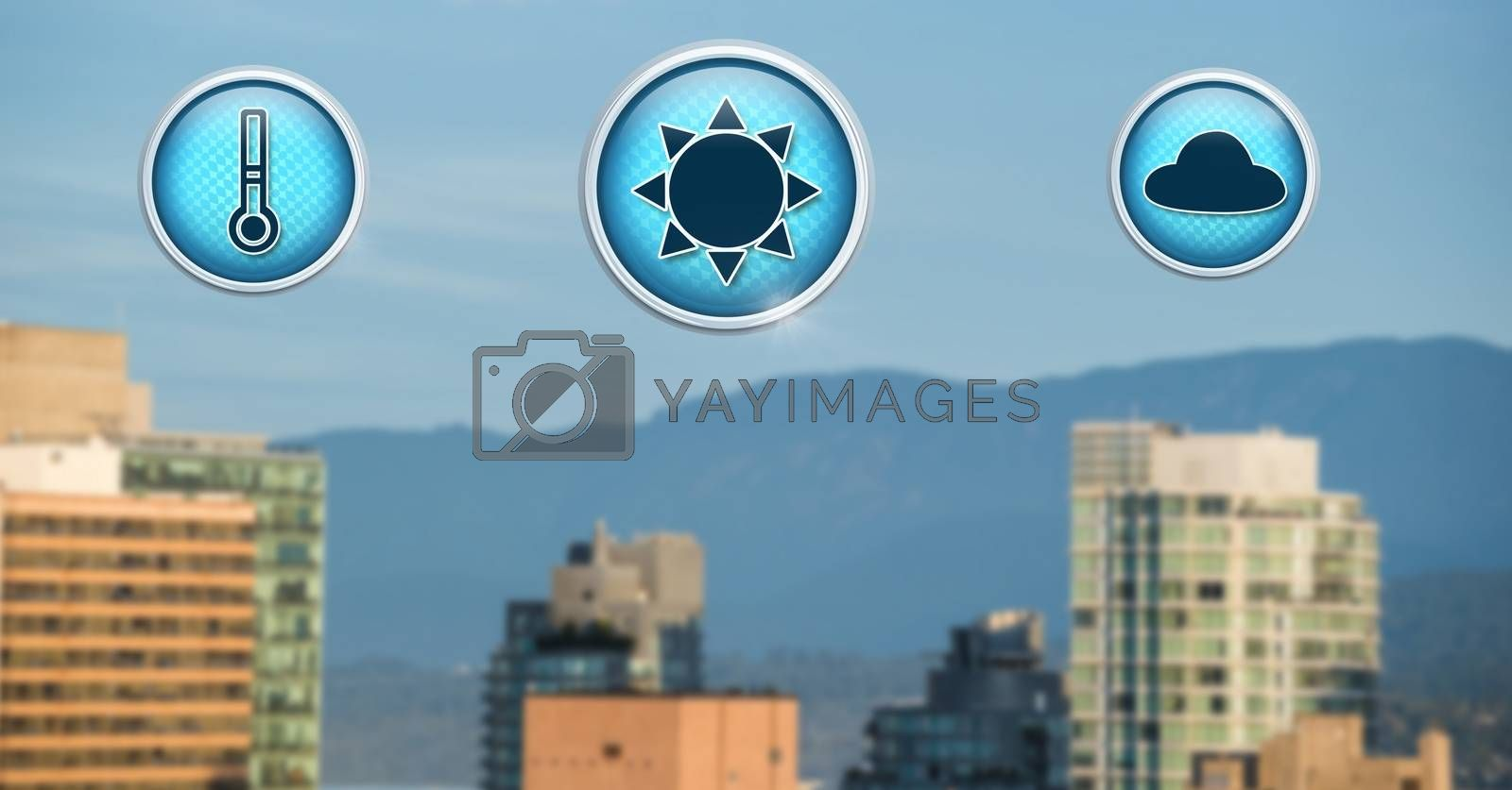 Digital composite of Weather icons in city