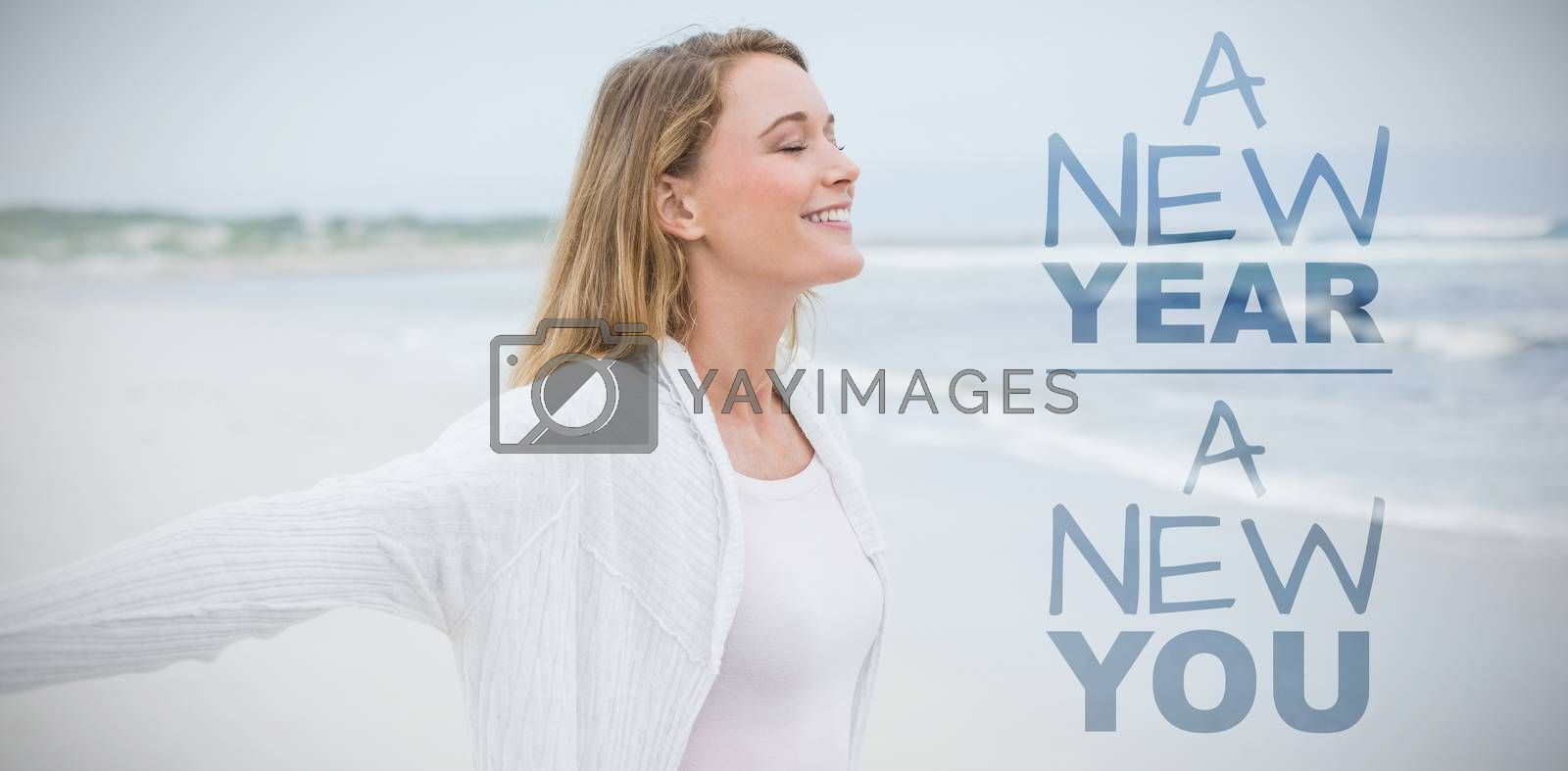 New year new you against casual young woman with eyes closed at beach