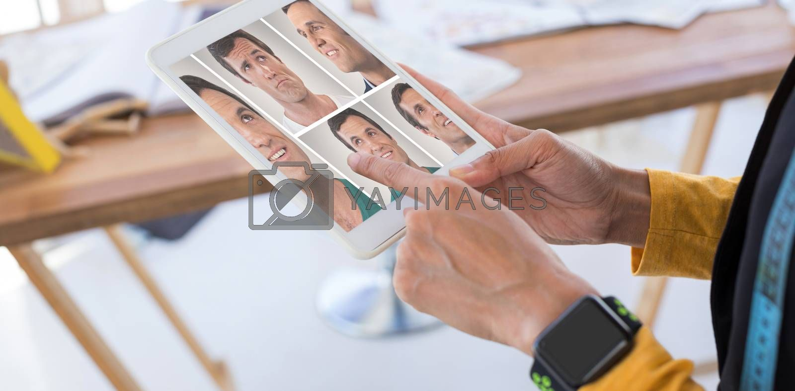 People collage portrait single 5 against fashion designer using digital tablet in office