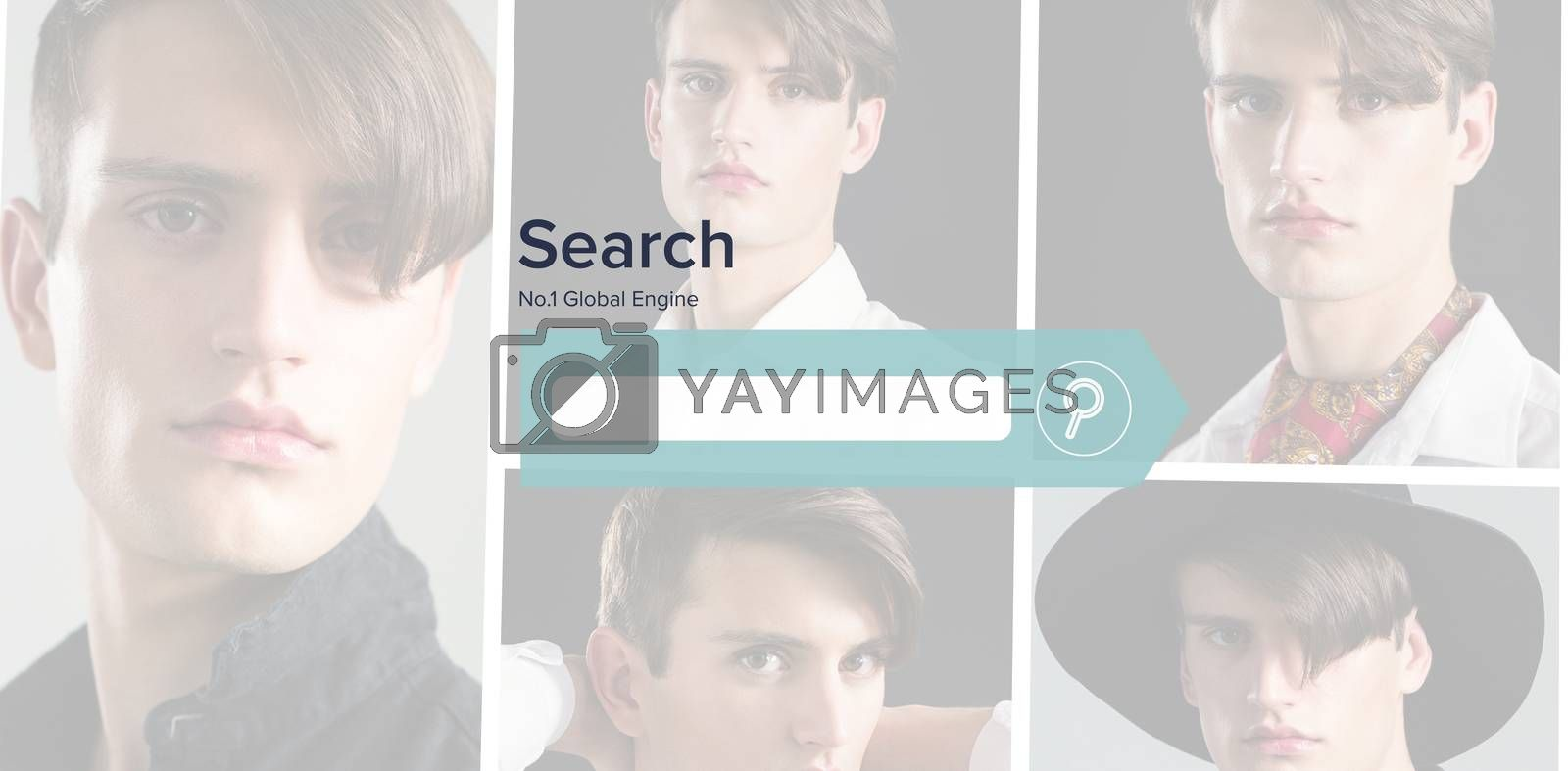 Digital composite image of search engine page against people collage portrait single 5