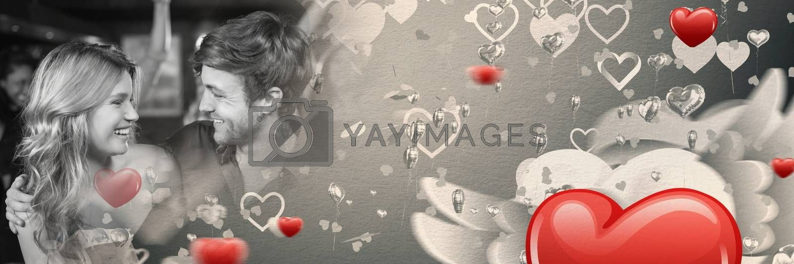 Digital composite of Couple with valentine's love transition hearts