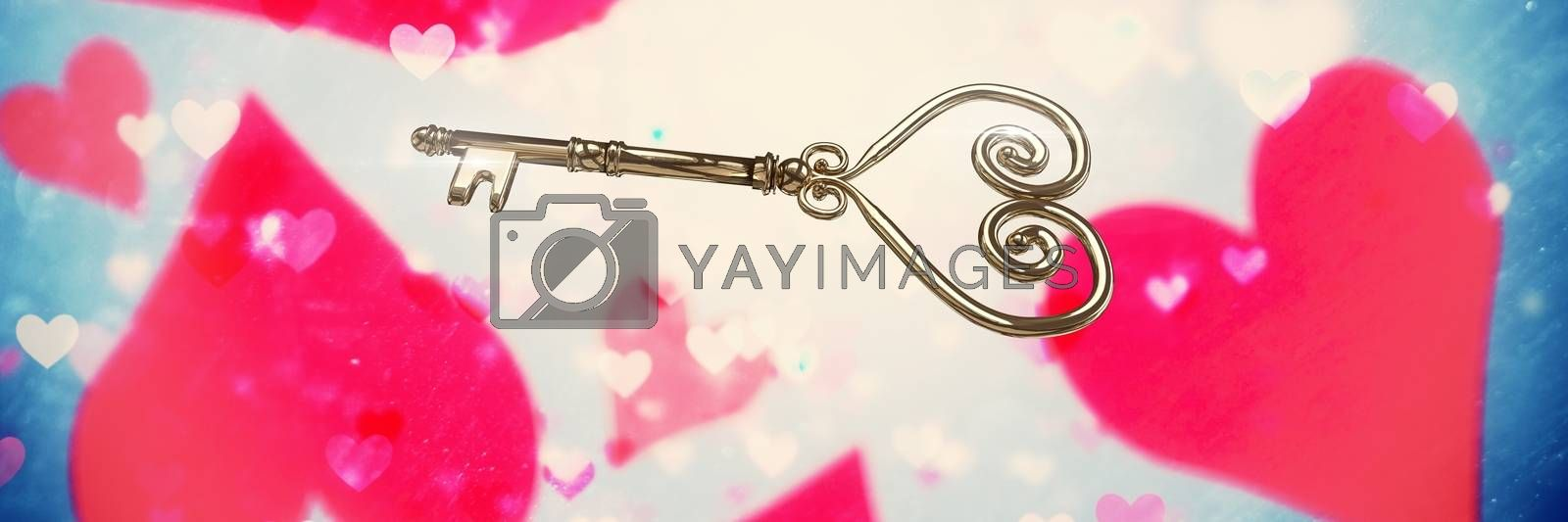 Digital composite of Valentines key and love hearts background