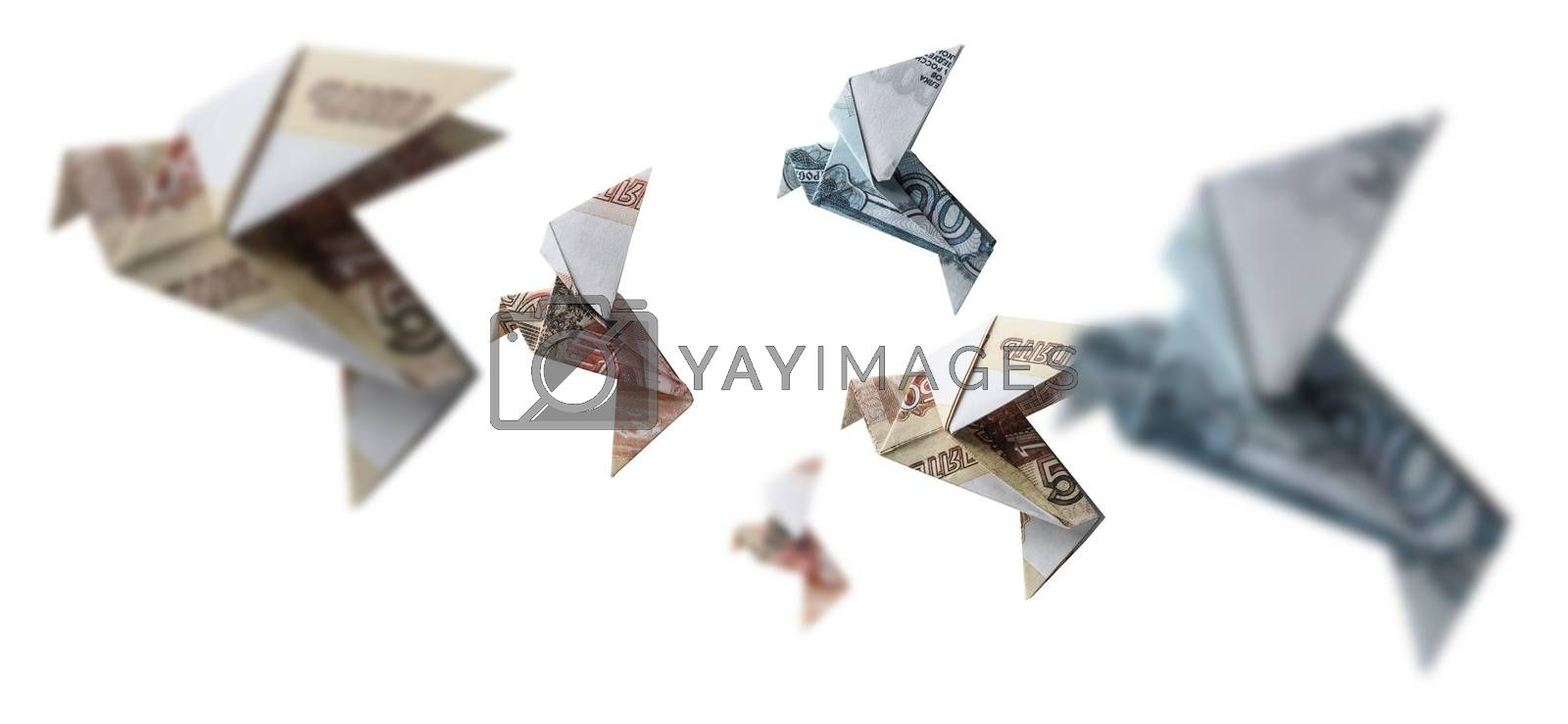 Russian rubles in the form of birds. Flying on a white background.