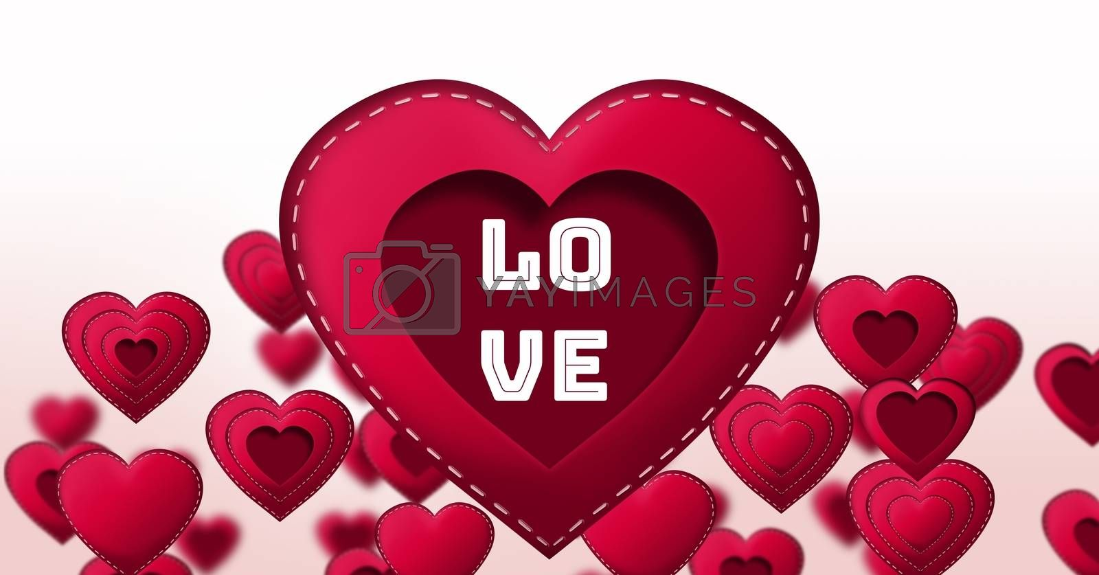 Digital composite of Love text and Stitched Valentines Hearts