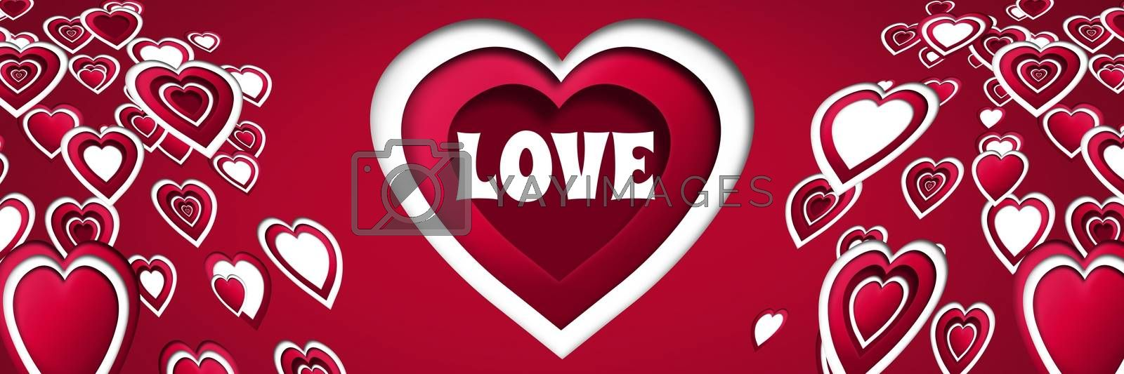 Digital composite of Love text and Layered Valentines hearts