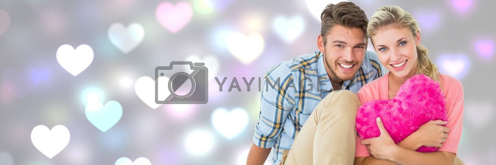 Digital composite of Valentines couple with love hearts background