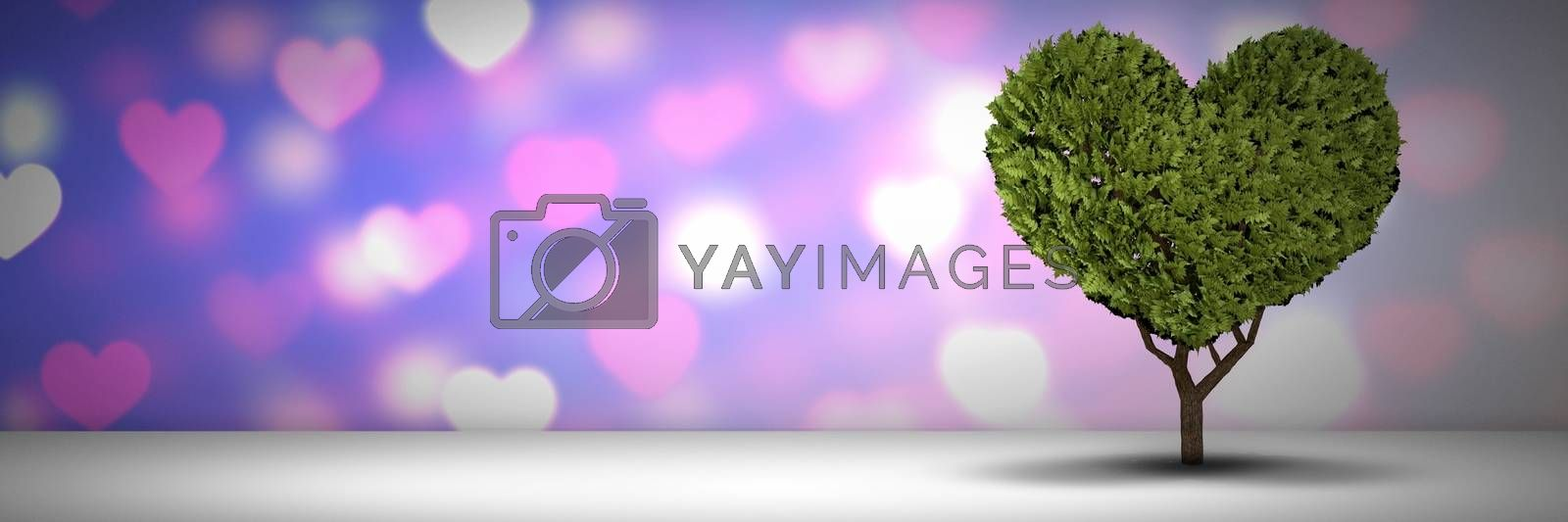 Digital composite of Valentines love hearts and tree
