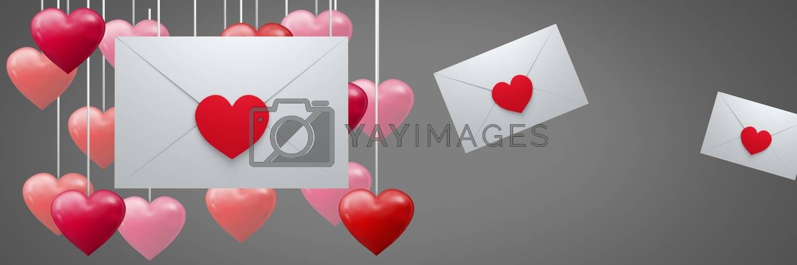Digital composite of Valentines love letters and hanging hearts