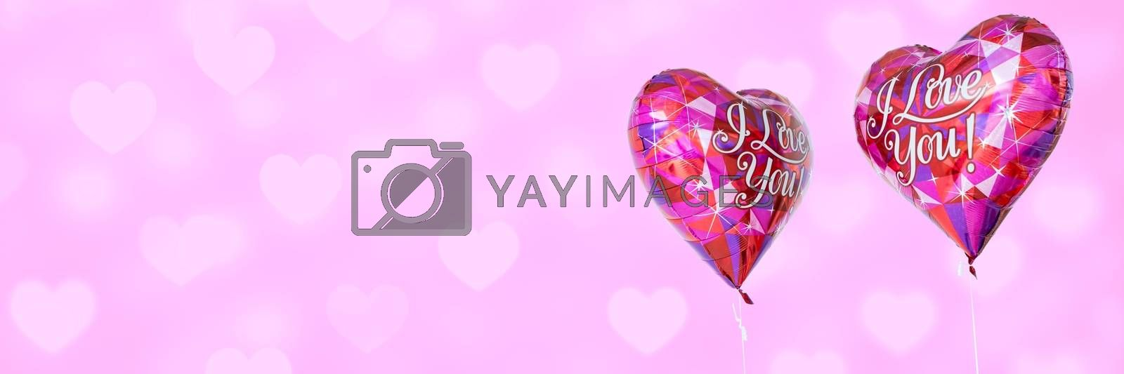 Digital composite of Valentines love balloons and love hearts background