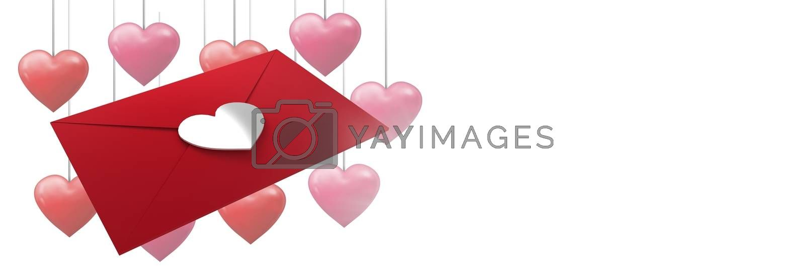 Digital composite of Valentines love letter and love hearts background