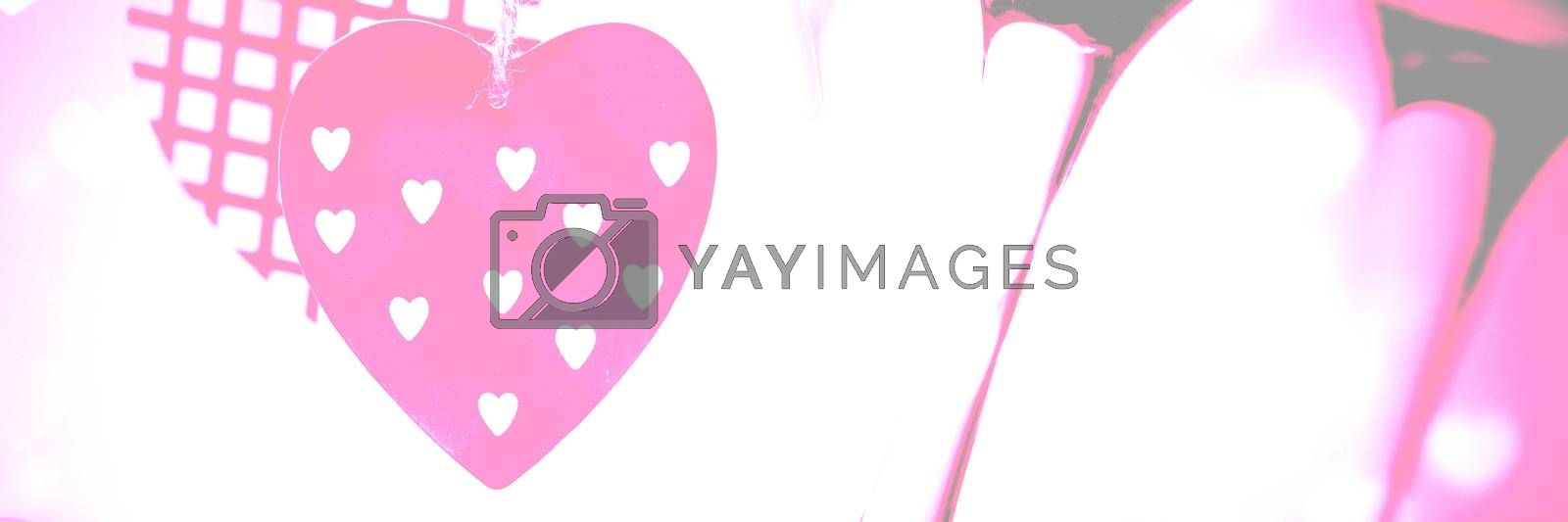 Digital composite of Valentines love hearts background