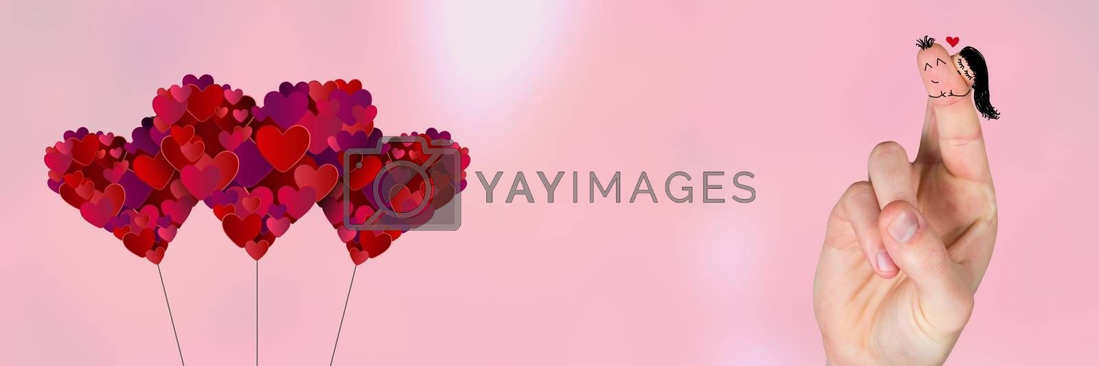 Digital composite of Valentine's fingers love couple and hearts