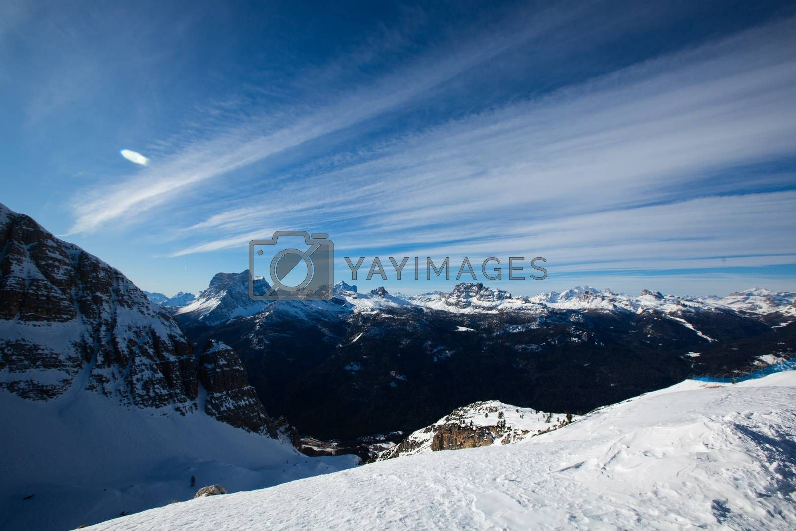 Dolomities Dolomiti Italy in wintertime beautiful alps winter mountains and ski slope Cortina d'Ampezzo Faloria skiing resort area