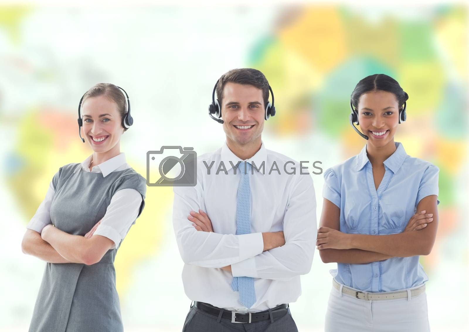Digital composite of Travel agents wearing headsets in front of world map