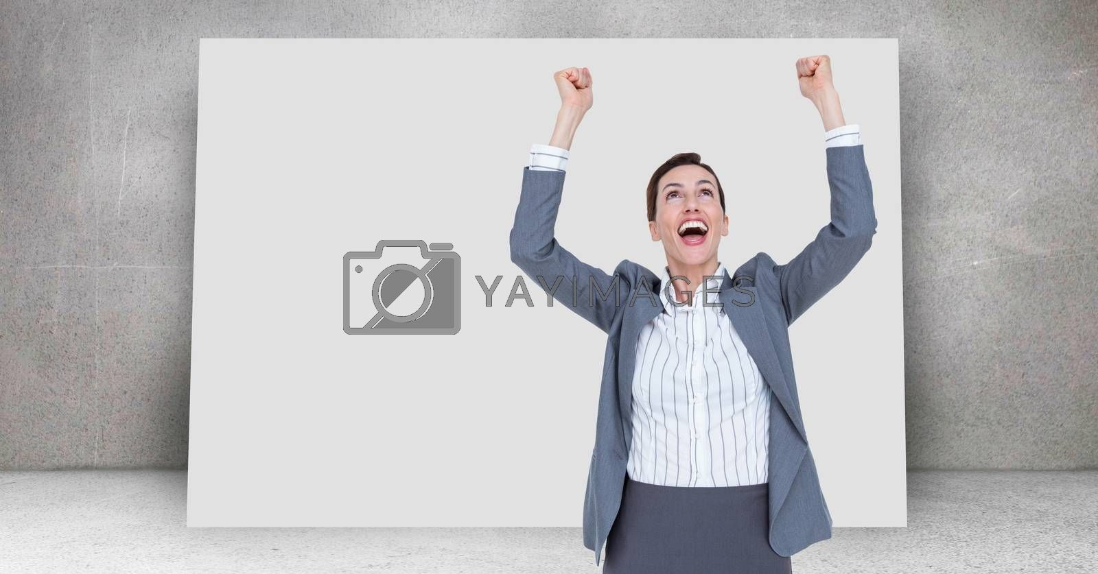 Digital composite of Winning celebration of businesswoman in front of blank board