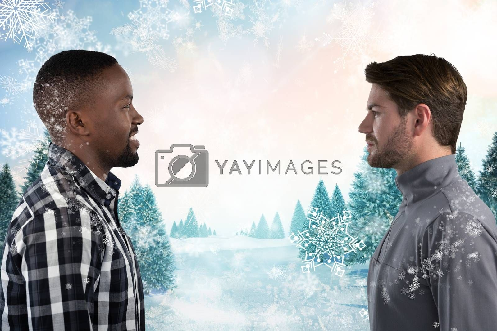 Digital composite of Men  looking at each other in snowy weather