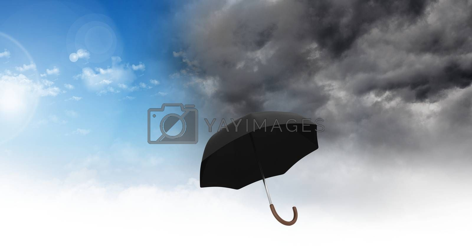Digital composite of Umbrella with Grey sky and blue sky weather change transition