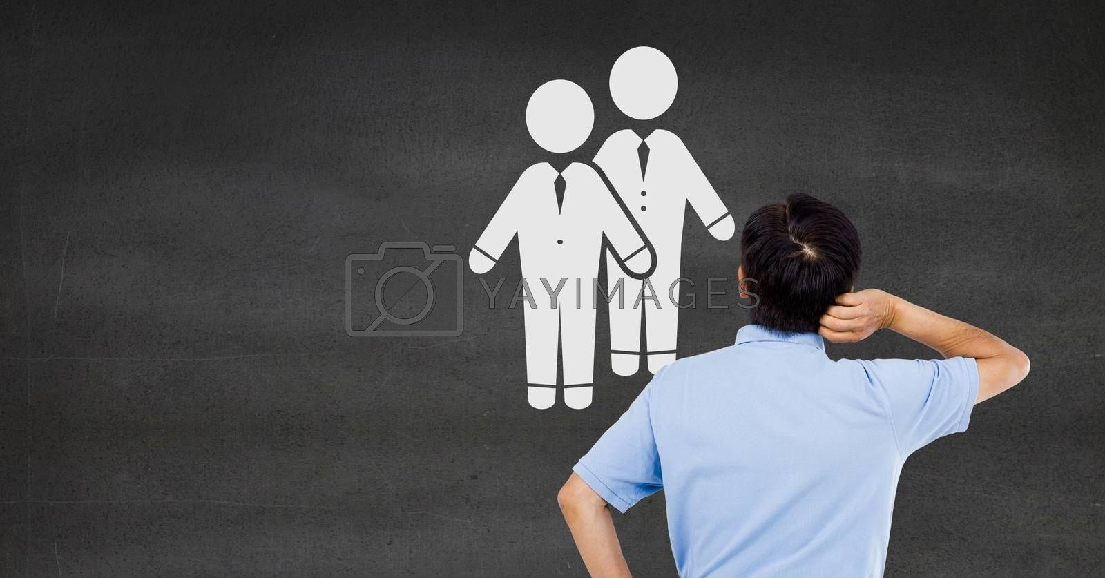 Digital composite of Businessman looking at couple partners of people icon