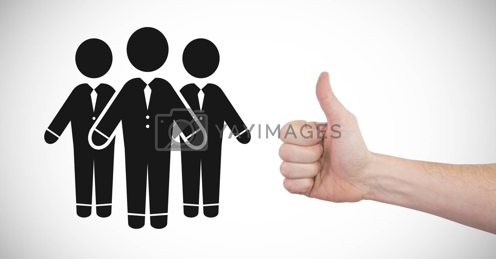 Digital composite of Thumbs up with people group icon