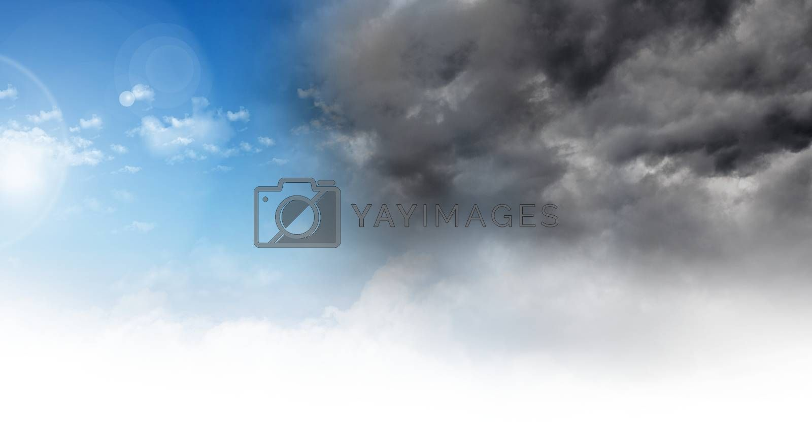 Digital composite of Grey sky and blue sky weather change transition