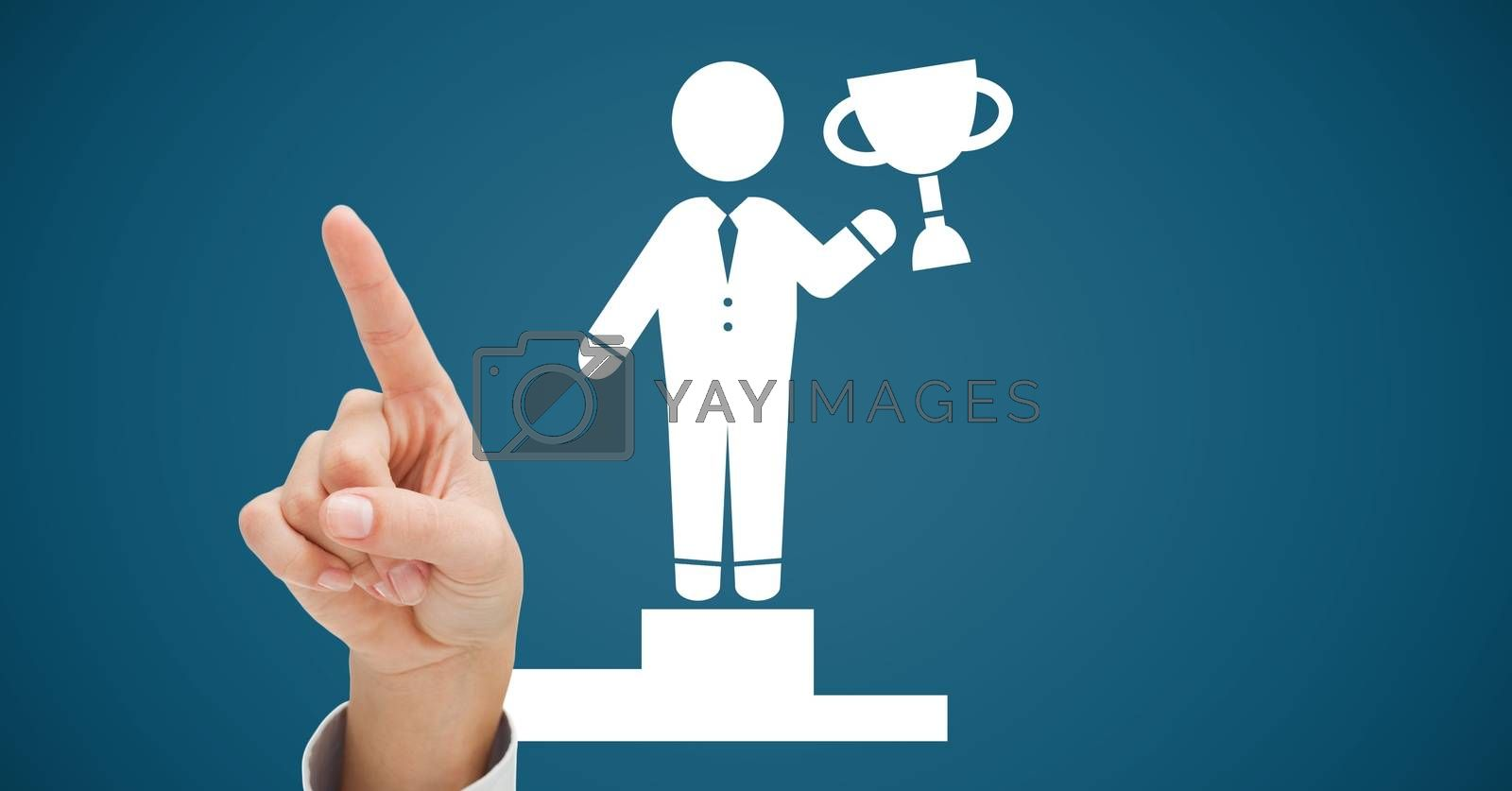 Digital composite of Hand pointing up with Celebration victory person icon holding trophy