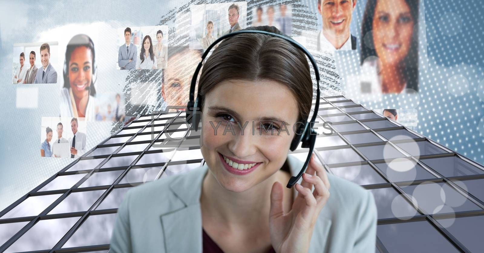 Digital composite of Customer service woman with Tall building with people icons