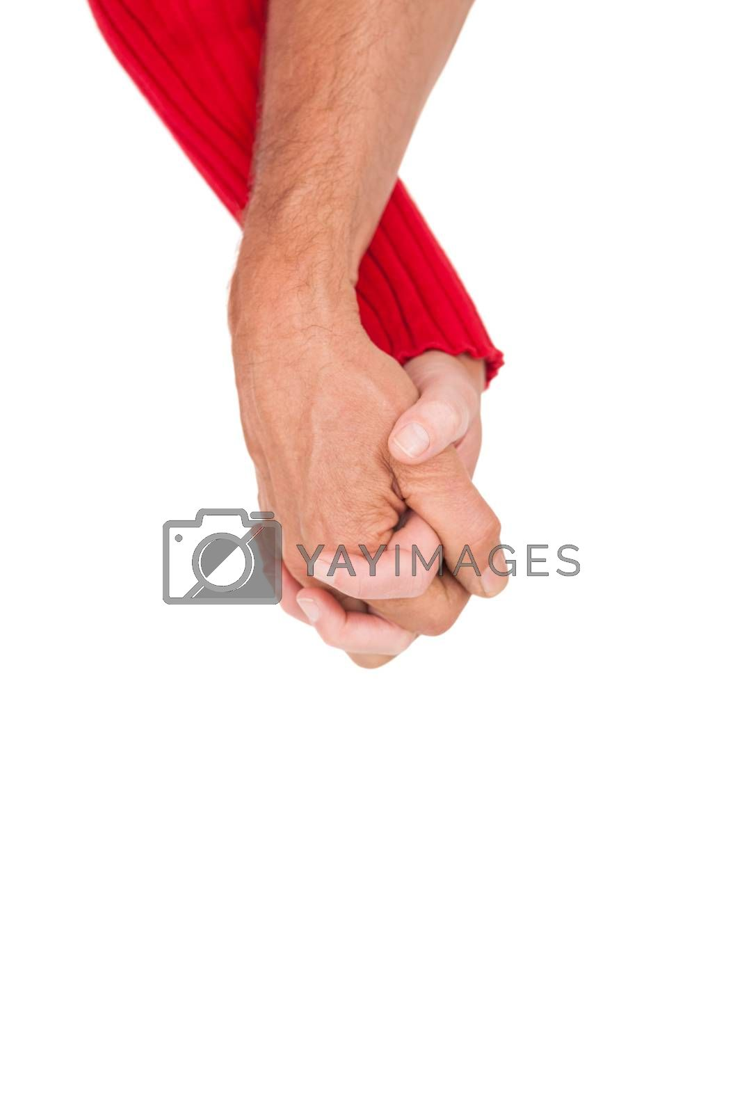 Close up of holding hands over white background
