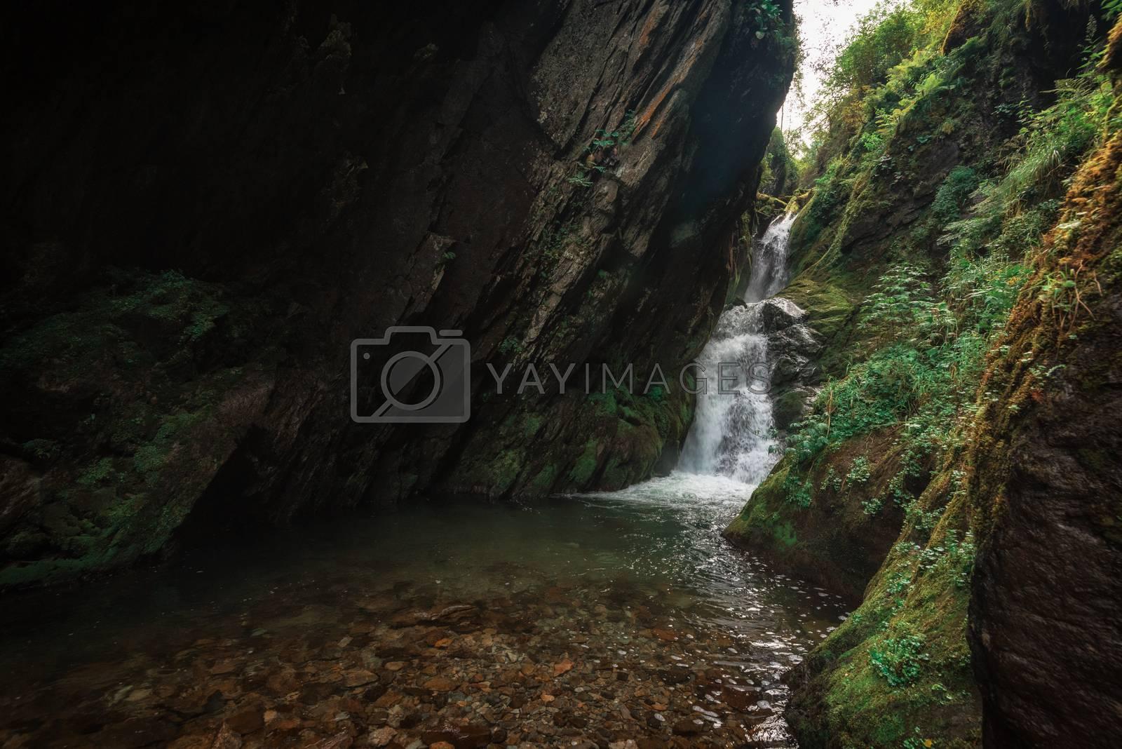 Estyube Waterfall at Lake Teletskoye in the Altai Mountains