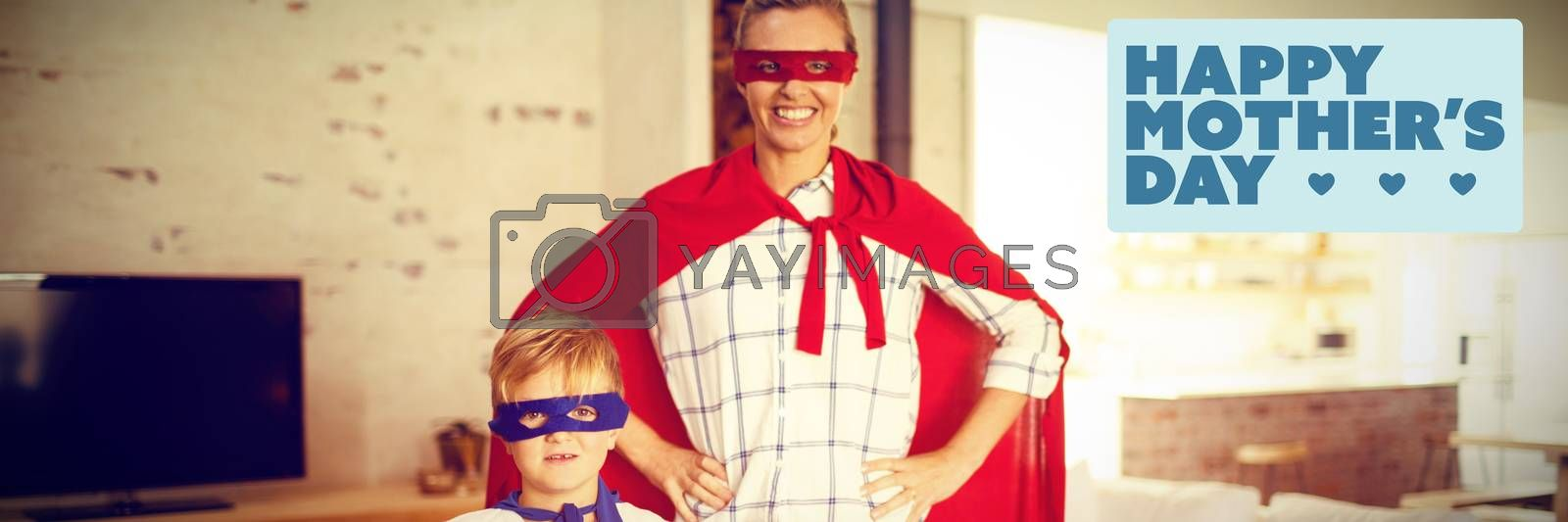 mothers day greeting against mother and son playing super heroes