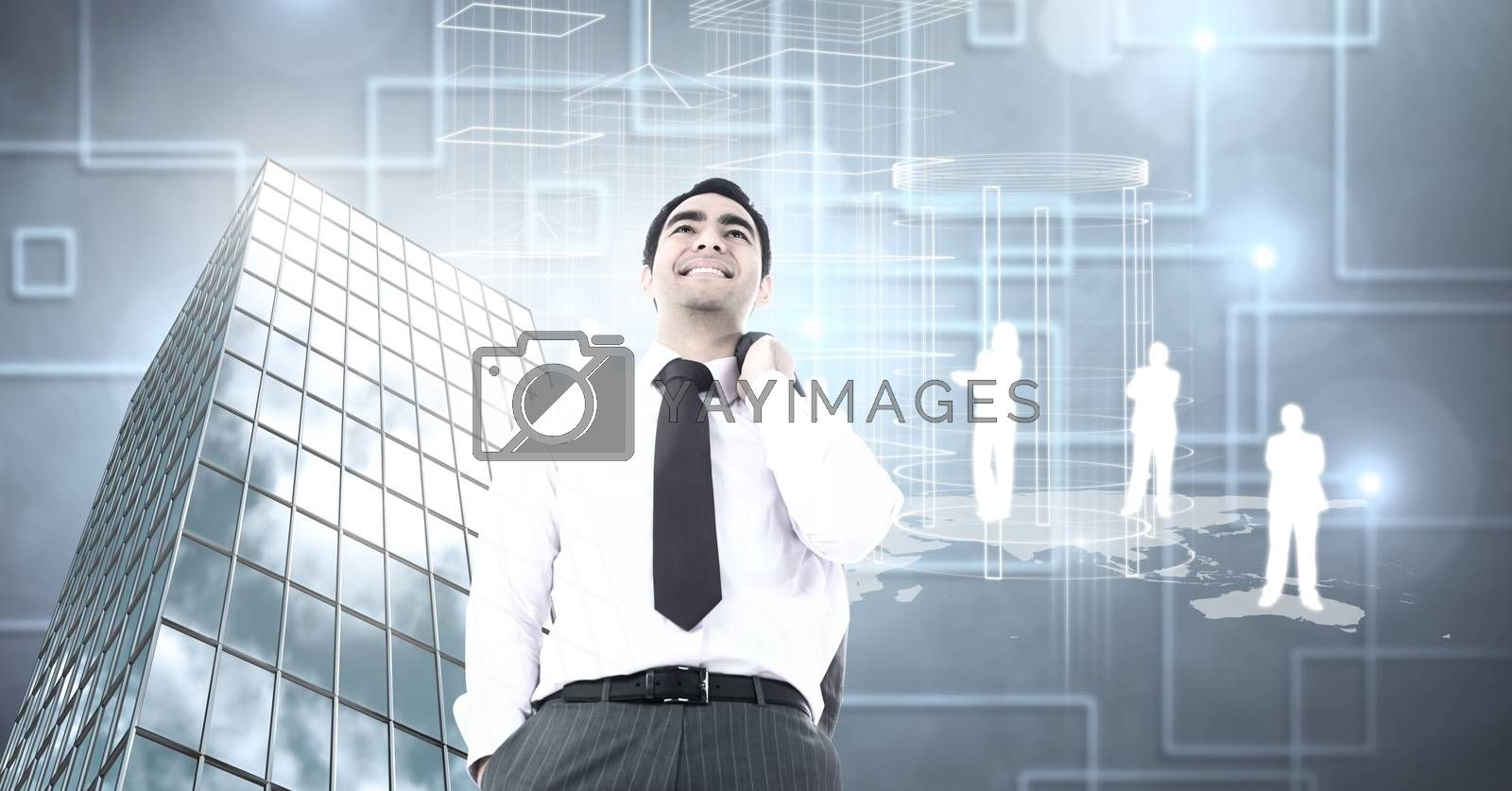 Digital composite of Businessman standing confidently with Tall building with  people silhouettes and shapes